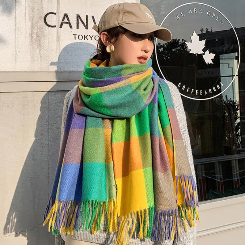 Luxury Fashion Winter Scarf Women Pashmina Shawls and Scarves Soft Bufandas invierno mujer foulard femme soie de marque de luxe(China)