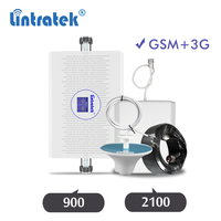 Lintratek 2G 3G GSM cellular repeater 900 2100 signal amplifier GSM 900mhz WCDMA UMTS 2100mhz mobile phone booster kit ALC dj