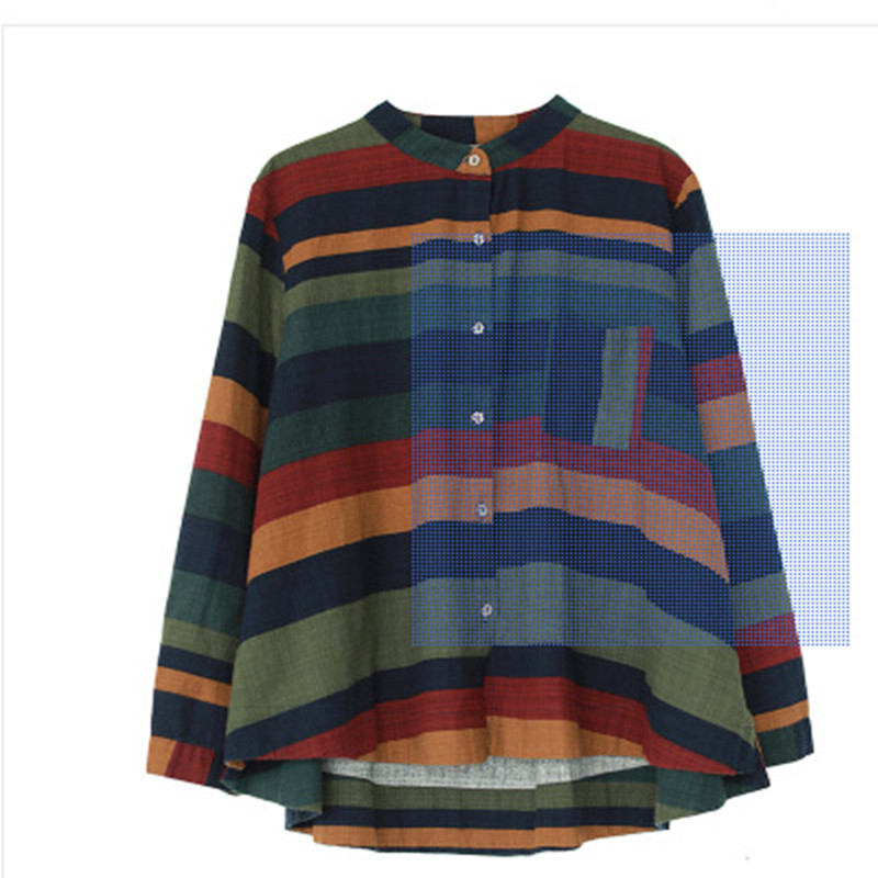 CoshiMunasi Spring Women Shirts Vintage Tops Stripe Cotton Linen Cardigan Color Long Sleeve Shirt Mori Girl Loose Womens Blouse