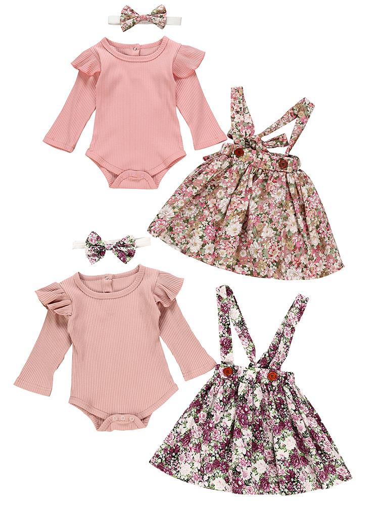Romper Headband Clothes-Sets Flower-Dress Newborn-Clothing Long-Sleeve Pink Baby-Girls
