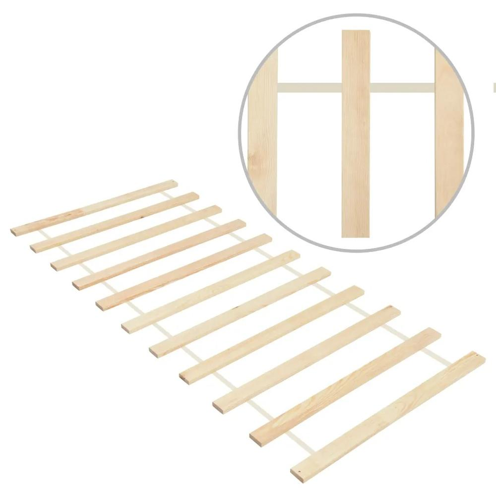 vidaXL Roll-up Bed Base with 11 Slats <font><b>90</b></font> x 200cm Solid Pinewood 285778 image