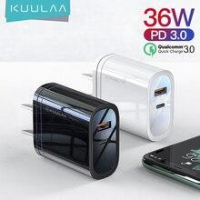 KUULAA adapter USB, przenośny adapter do ładowarka USB, 36 W, technologia Quick Charge 4.0, PD 3.0, USB C, tryb szybkiego ładowania, do urządzeń iPhone, Xiaomi