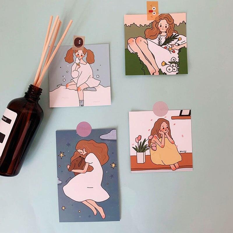 Купить с кэшбэком SIXONE Ins 8 Sets Cute Girl Creative Decorative Cards Postcard Photograph Prop Decoration Painting Suit Sticker Metope Card