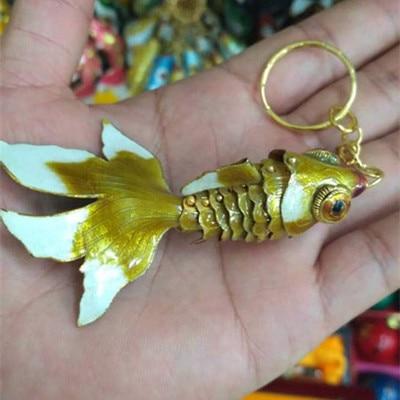 Эмаль 7,5 качели животное Золотая Рыбка брелок рыба брелки китайская перегородчатая эмаль брелки для ключей автомобиля сумка аксессуары этнический подарок - Цвет: Цвет: желтый