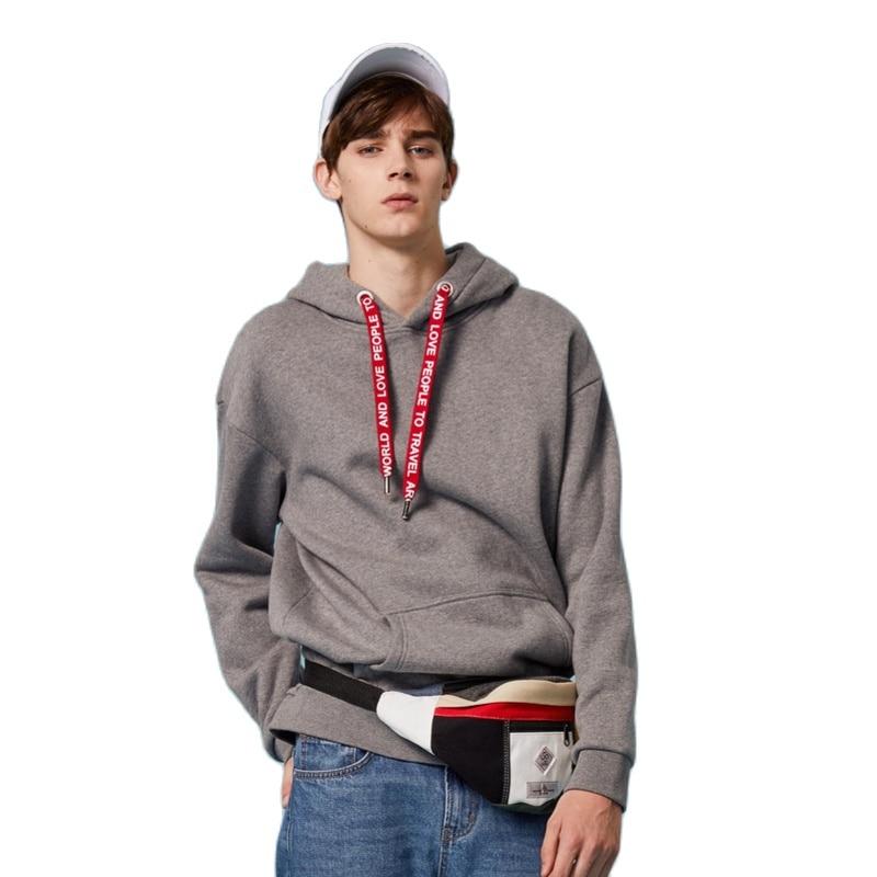 SEMIR Fleece-Line Hooded Sweatshirt Men Pocket Pullover Hoodies Man Lined Drawstring Hood Ribbing Cuff Hem sport hoodies