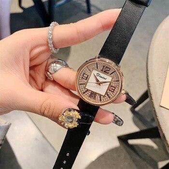 New Woman Watch Women Leather Strap Watches Women Diamond Crystal Quartz Dress WristWatch Women Clock Hoursrelojes para mujer