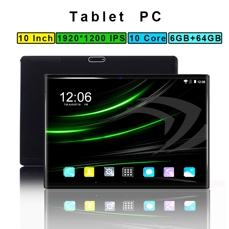 1920*1200 IPS 10 Inch Tablet Pc 10 Core Android 8.0 RAM 6GB ROM 64GB 4G LTE Dual SIM Card Phone WIFI Bluetooth GPS Smart Tablets