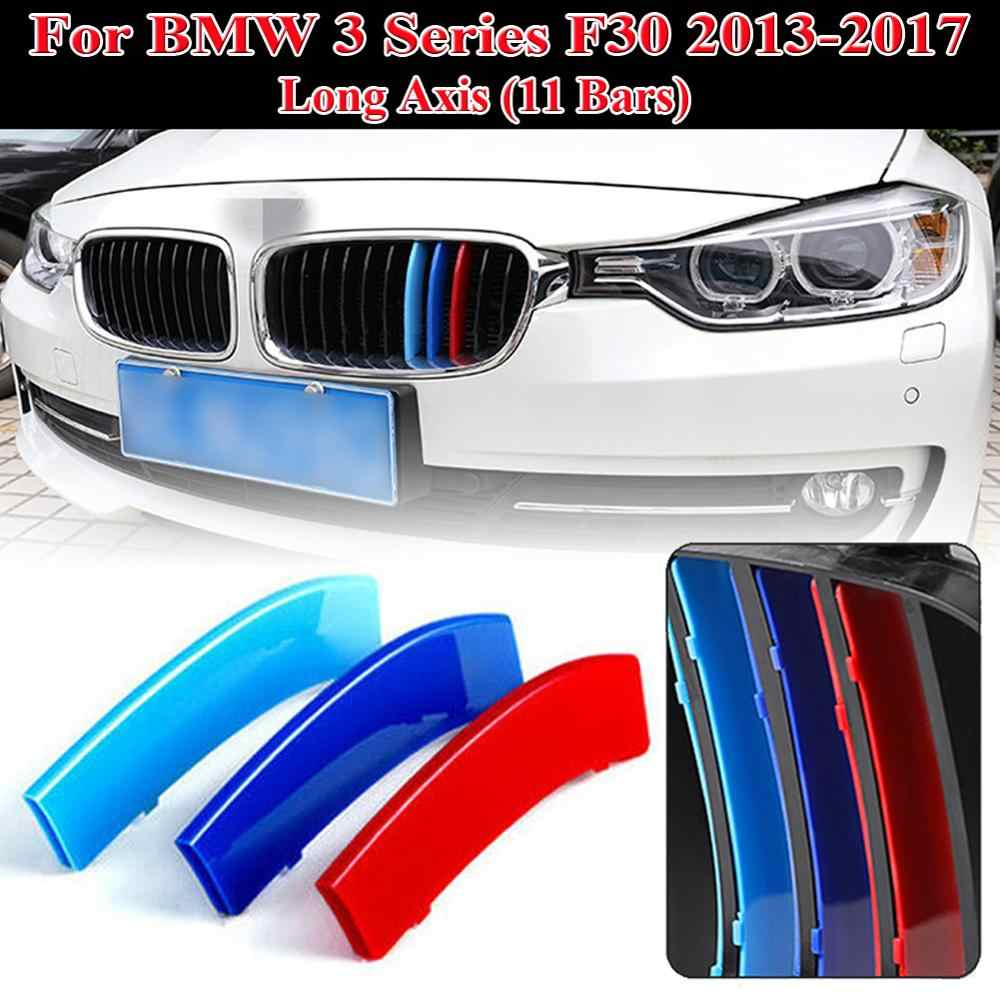 3PCS 3 Colors Grille Cover Clips For BMW F30 2013-2017 Front Kidney Grille Grill Cover Stripe Clip Accessories Car Grille