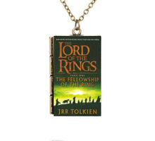 Miniature the Lord of the Ring TINY Book Cover Pendant Necklace Film Cartoon the Lord of the Ring Book Necklace lord of the darkwood