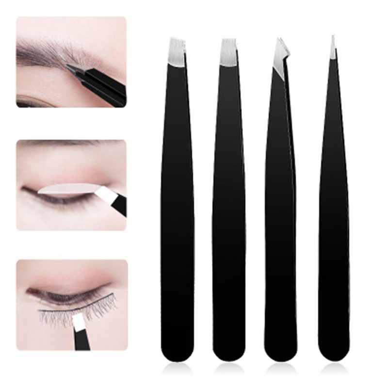 4pc Stainless Steel Eyebrow Tweezers Eyebrows Trimmer Eye Brow Trimming Clip Tool Slanted Facial Hair Remover With Travel Case