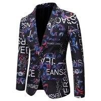 Mens Suits Blazers New Autumn Men's Monogram Print Slim Slim Men's Suit Without Slit