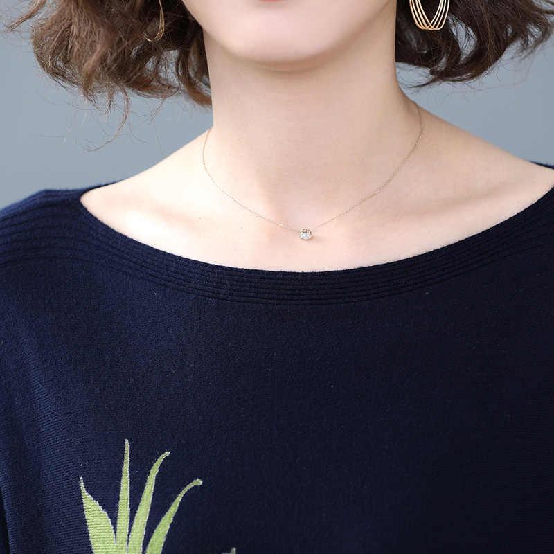 YISU Gerade kleid 2019 Herbst Winter Slash neck Langarm Pullover Kleid Frauen Green leaf muster Gedruckt stricken kleid