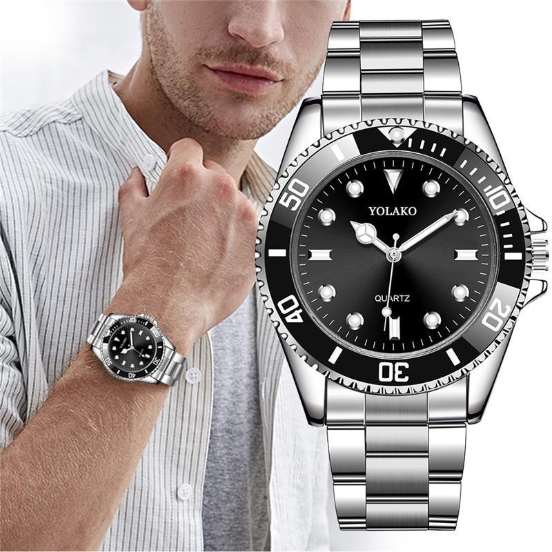 Reloj de pulsera analógico de cuarzo deportivo de acero inoxidable para hombre de lujo 2019, relojes de pulsera masculinos de gran oferta