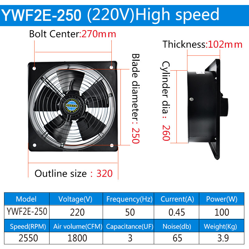 10inch 220V 60/100W Square Outer Rotor Axial Fan Industrial fan Suitable for Workshops, Warehouses, etc
