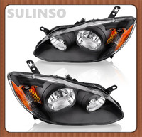 Sulinso For Toyota Corolla 2003 2008 Headlight Assembly Black Housing Amber Reflector Clear Lens (Driver & Passenger Side)