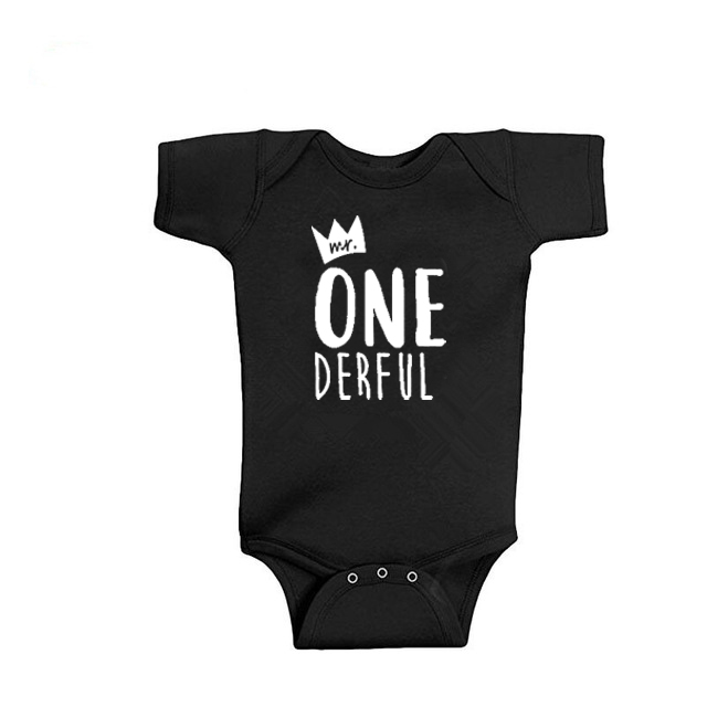 Baby Bodysuit Newborn Baby Clothes Cotton Baby Clothes Mr One-derful Baby Boys 1st Birthday Body First Birthday Outfit For Boys