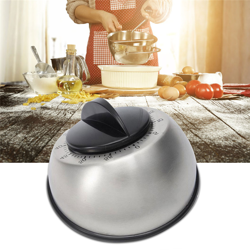 1pc Stainless Steel Dome Shape Kitchen Timer 60 Minutes Countdown Mechanical Wind Up Alarm Clock Home Kitchen Cooking Tools - 4