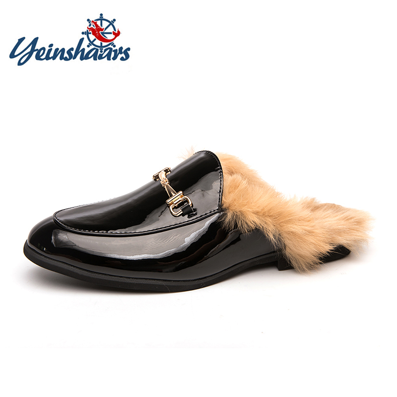 YEINSHAARS Winter New Real Fur Warm Snow Shoes Men Lazy Shoes Loafers Comfort Moccasins Furry Slides Fluffy Hairy Flip Flops