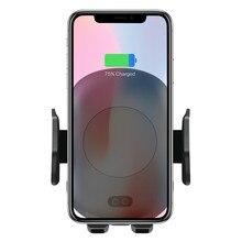 10 вт Qi беспроводное автомобильное зарядное устройство, держатель телефона, автоматический зажим, быстрая зарядка, инфракрасный датчик для iPhone X XS XR Max 8 Samsung S8 S9 S10