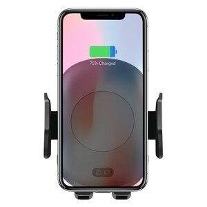 Image 1 - 10ワットチーワイヤレス車の充電器電話ホルダー自動クランプ急速充電赤外線センサーiphone x xs xr最大8サムスンS8 S9 S10