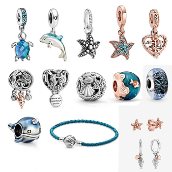 2020 New Summer High-quality Openwork Seahorse, Starfish Shell, Narwhal Dolphin, Rope Heart-shaped Love Anchor Ladies Diy Jewelr