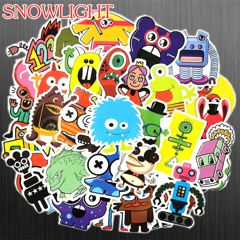 50pcs Cartoon Little Monster Robot Stickers For Snowboard Laptop Luggage Fridge Styling Vinyl Home Decor Toy Sticker For Kids