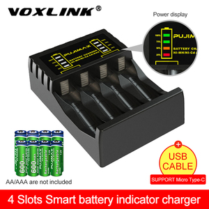 VOXLINK 4 slot Battery Charger for AAA/AA Rechargeable Battery Short Circuit Protection with LED Indicator Ni-MH/Ni-Cd charger
