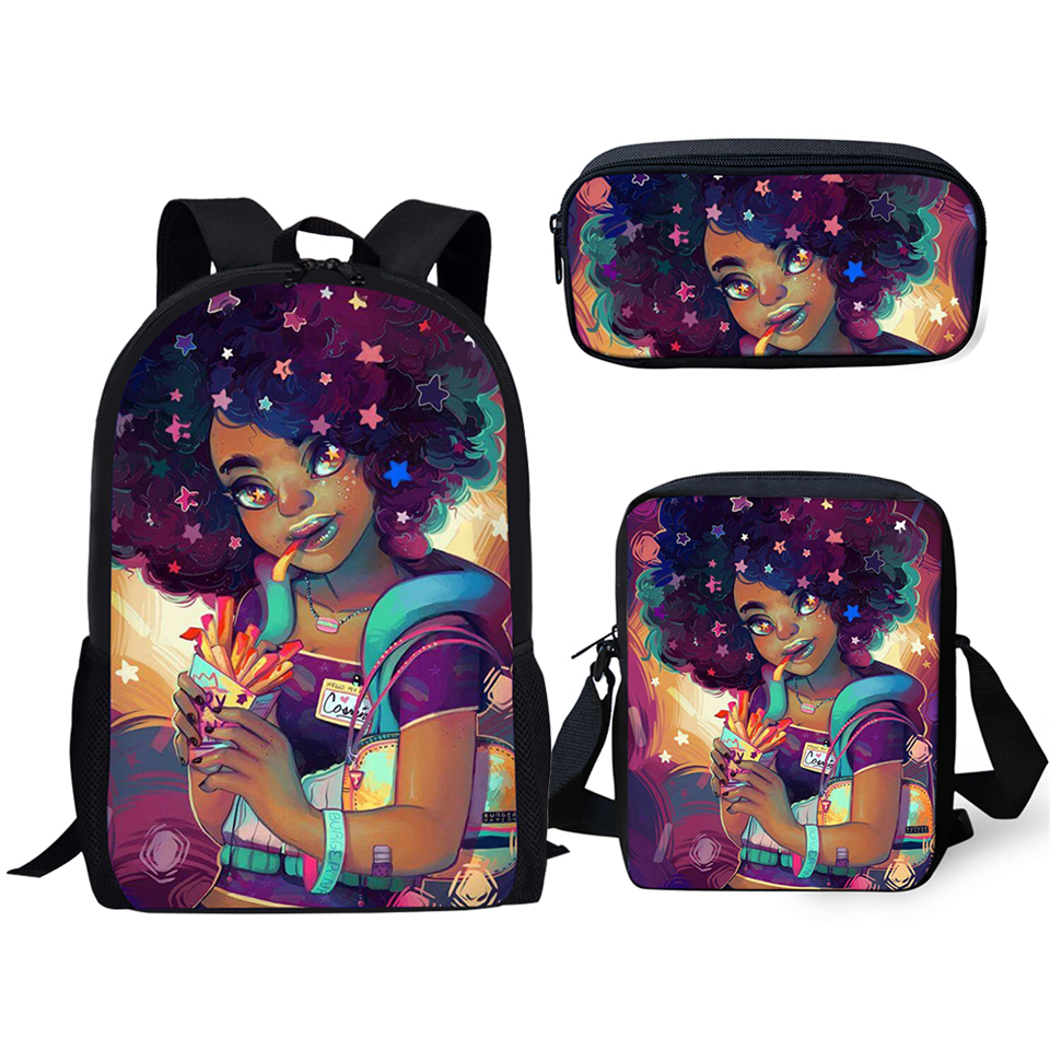 HaoYun Primary School Backpack Set Black African Girls Pattern Kids Bags Afro Arts Design Students 3PCs/Set Book