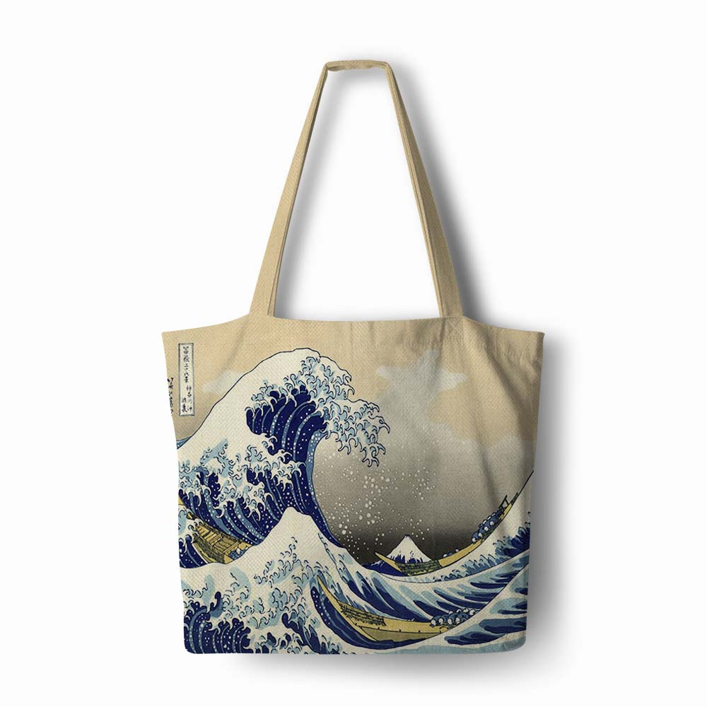 <font><b>Japanese</b></font> style Ocean waves printing Handbag Linen polyester women <font><b>shopping</b></font> Tote Home Storage with Casual Traveling Beach <font><b>Bag</b></font> image