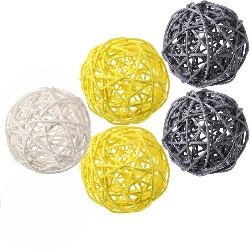 Ротанговые плетеные тростниковые шары диаметром 5 см для сада патио, свадебные, вечерние украшения, DIY для тайского стиля гирлянды - Цвет корпуса: Gray-yellew-white