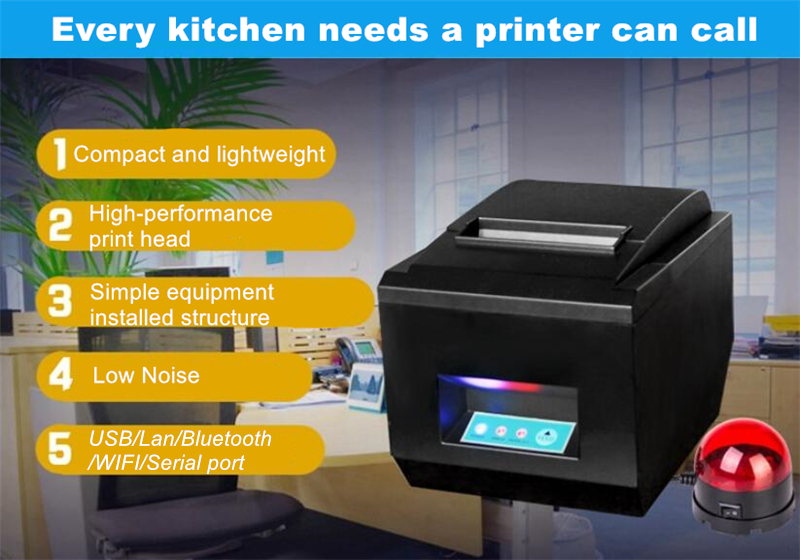 Thermische Ticket Drucker 80mm Mit Auto Cutter USB Bluetooth POS Erhalt Drucker Hohe Geschwindigkeit 260 MM/s Küche Restaurant