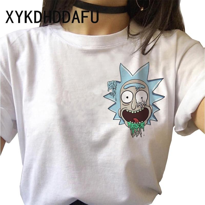 Rick And Morty T Shirt Women Picket Funny Tshirt Harajuku Ricka And Morty Femme T-shirt Ulzzang Streetwear Female Vintage