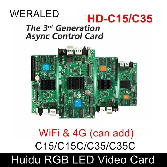 Weraled最初の選択肢huidu asynchronization HD C15/HD C15C/HD C35 フルカラーledビデオカード、追加することができ無線wifi/3 グラム/4 グラムモジュラー