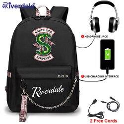 Riverdale-sac à dos Oxford, serpentin sur le côté sud, sac d'école noir pour adolescents, sac à fermeture éclair, dessin animé, 2020, à bandoulière