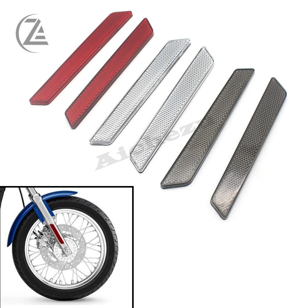 Acz 1 par garfo dianteiro da motocicleta perna refletor aviso de segurança para harley trava cobre selins rígidos visibilidade lateral