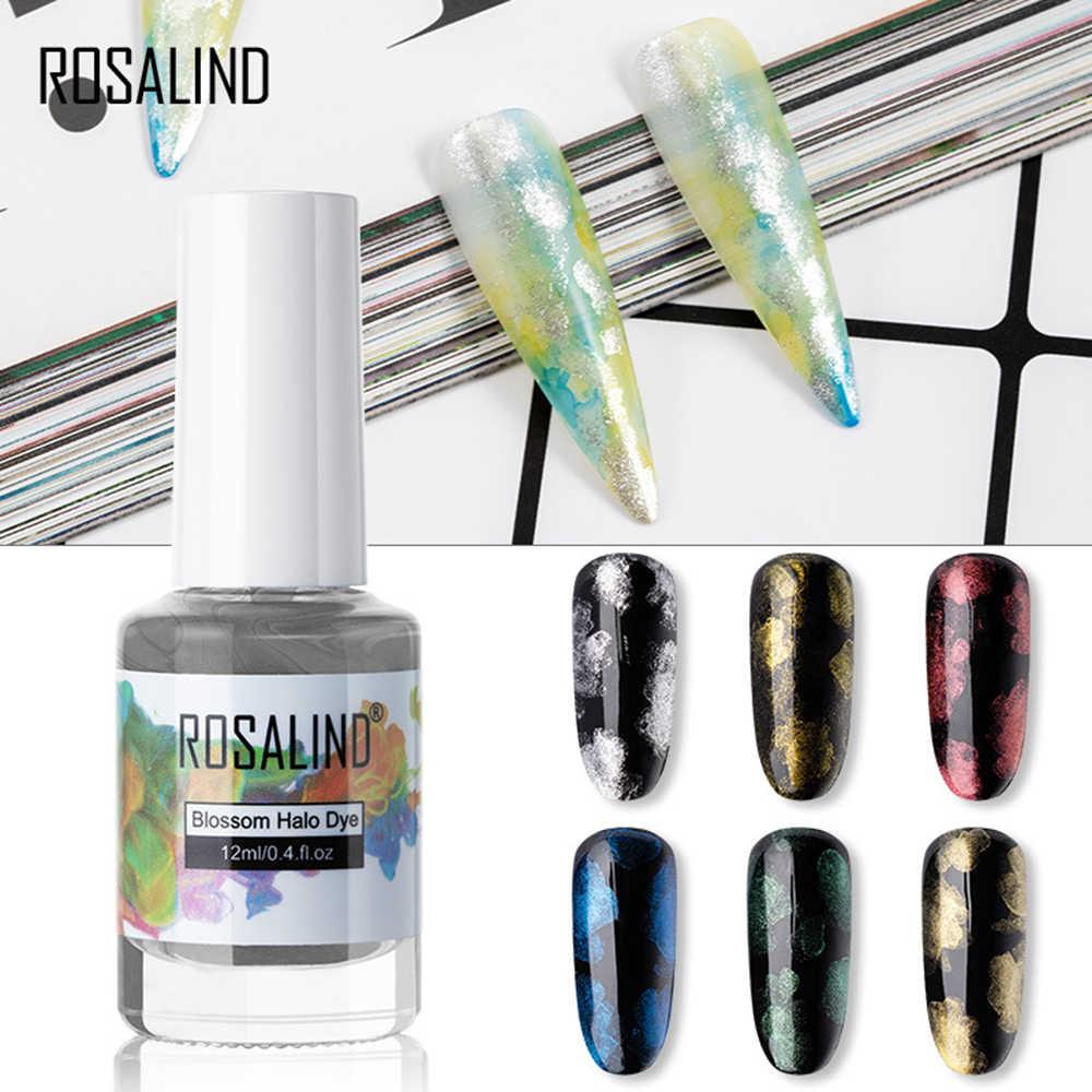 ROSALIND 12ML เล็บเจล Polish Glitter Blossom น้ำสีเคลือบเงา Hybrid เล็บเจลฐานกึ่งถาวรเล็บเล็บชุด