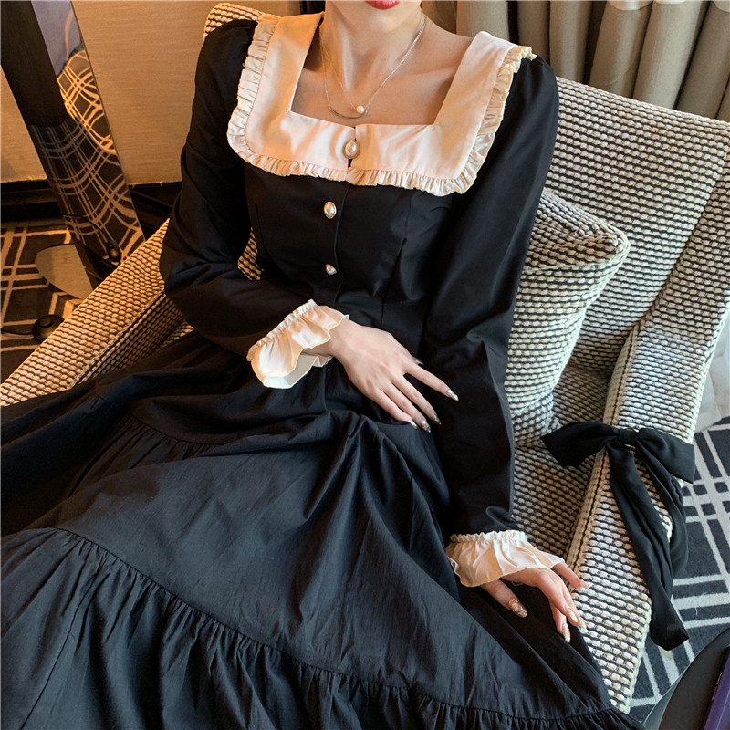 Two Pieces Court Retro Black Outfits Dress Suits Harajuku Lolita Sweet Skirt Sets 2PC Peter Pan Collar Shirts&A Line Skirt Suits