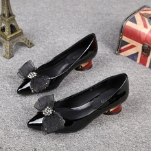 Black Patent Leather Chunky High Heels Women Party Shoes Point Toe Rhinestones Fashion Pumps with Bow Elegant Ladies Dress Shoes new fashion bow patent leather women pumps sexy pointed toe high heels women shoes ladies elegant evening party wedding shoes
