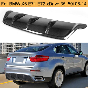 Carbon Fiber Car Rear Bumper Diffuser Lip Spoiler for BMW X6 E71 E72 2008 - 2014 xDrive 35i 50i Black FRP Bumper Diffuser image