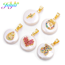 Juya DIY Gold Shell Pearls Pendants Supplies Micro Pave Rainbow Crystals Charms For Earrings Bracelet Necklace Jewelry Making