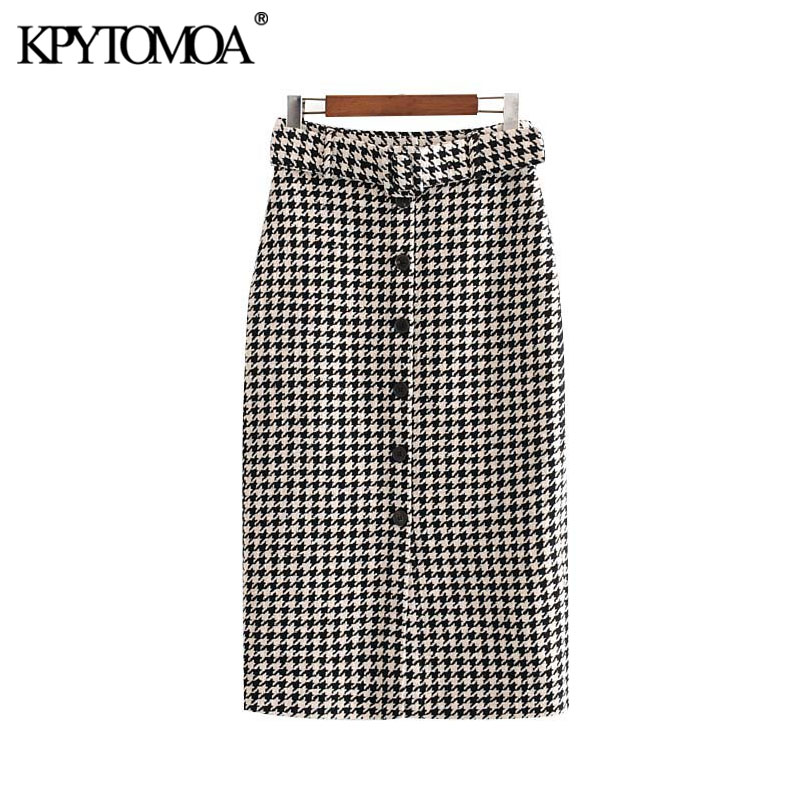 Vintage Elegant Houndstooth Tweed Midi Skirt Women 2020 Fashion With Belt Buttons Plaid Office Wear Female Skirts Faldas Mujer
