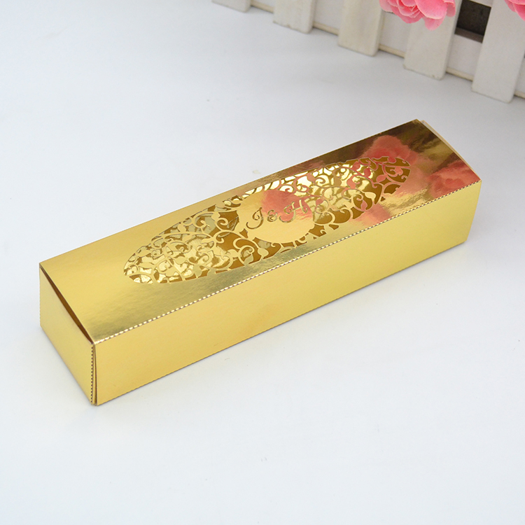 Custom Design Shiny Gold Laser Cut Lace Wedding Invitation Box