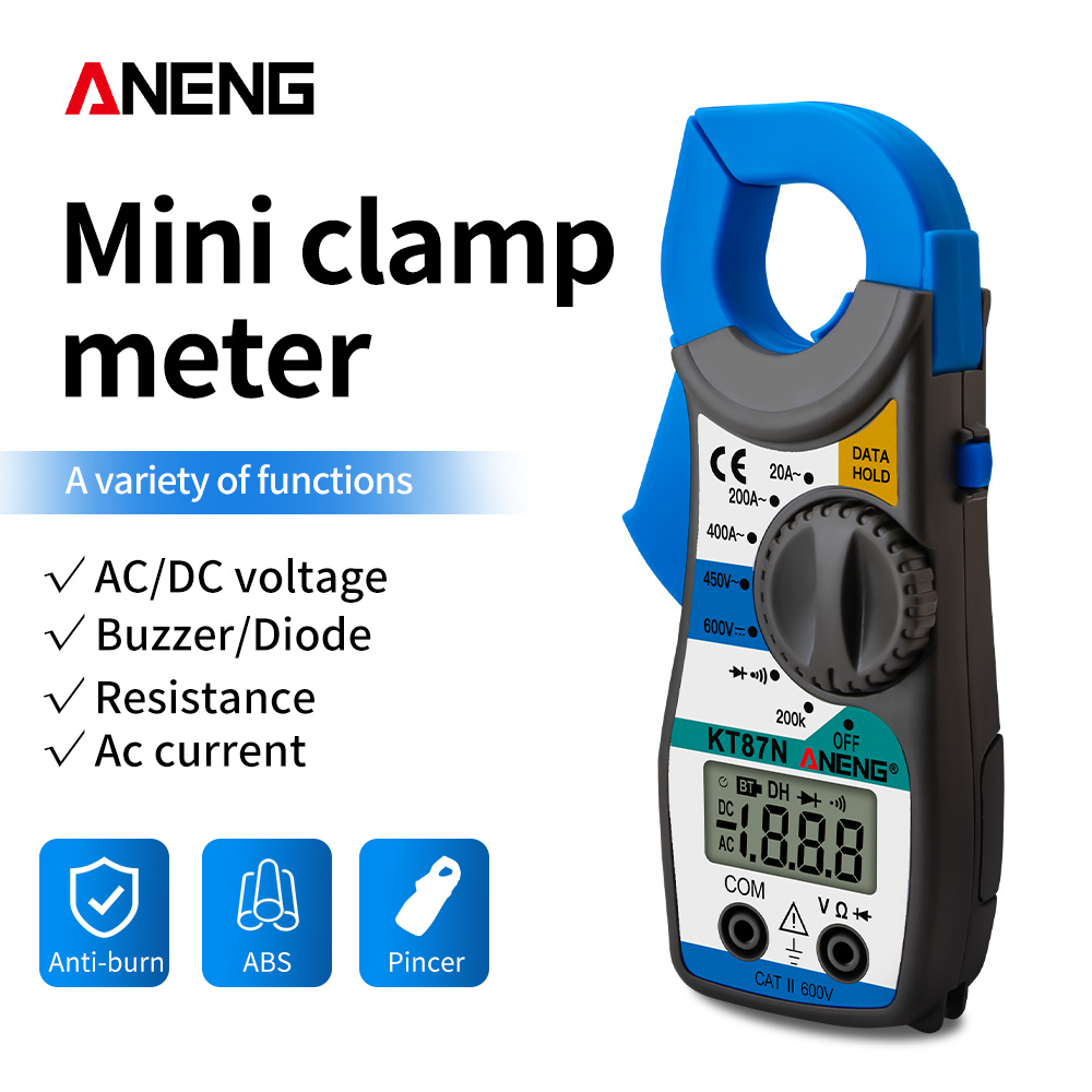 ANENG KT87N Mini Digital Clamp Meters AC/DC Voltage AC Current 600v True RMS Multimeter Capacitance Electrical Megger Tester