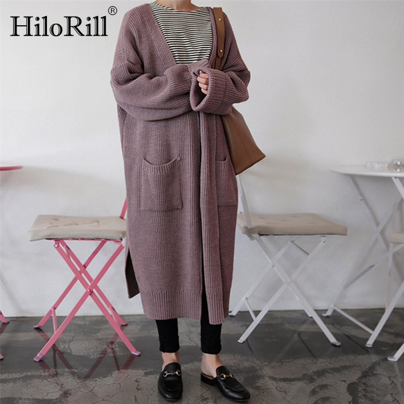 Long Sweater Cardigan Women Korean Style Loose Casual Long Sleeve Thick Cardigan Solid Fashion Outwear Autumn Winter Pocket Coat