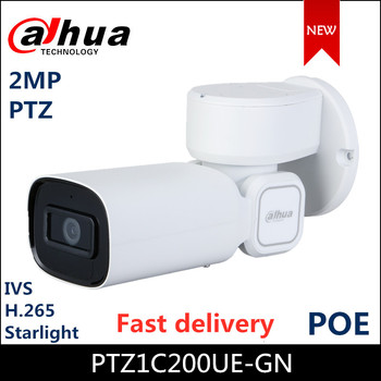 Dahua PTZ IP camera PTZ1C200UE-GN 2MP Starlight IR PTZ Network Camera Support PoE H.265 IVS PTZ Camera in stock ship soon dh outdoor 2mp 30x starlight ir ptz camera sd59230u hni ivs and auto tracking ptz speed network dome camera sd59230u hni