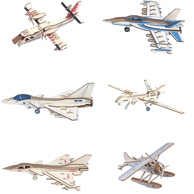 DIY Wooden Jigsaw Military Airplane Aircraft Assembly Model Craft 3D Building Blocks Educational Toys For Children Kids Gift image