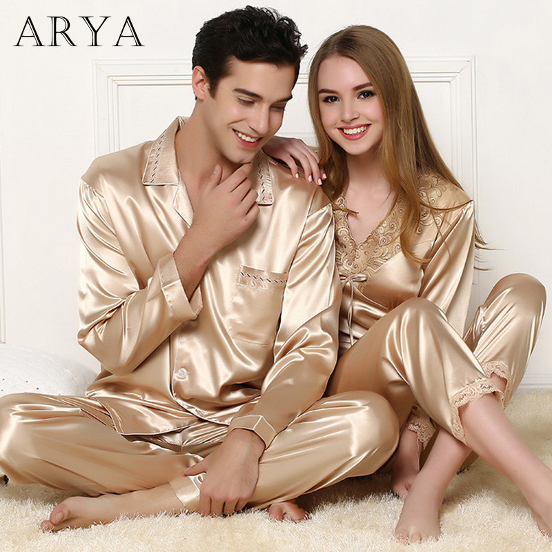 Pyjamas Sexy Lovers Champagne Gold Pajamas For Plus Size Women Pajamas Satin Silk Sleepwear Pijamas Mujer Women Pajama Set Femme