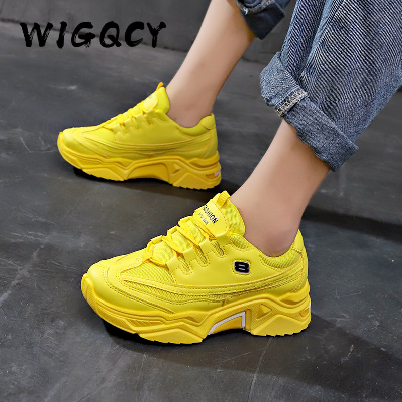 Platform Breathable Walking Sneakers New Stylish Women Causal Shoes Dropshipping Increasing 5CM INS Cushioning Height Sneakers