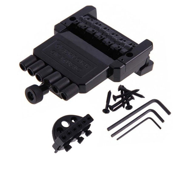 1 Set 6 String Saddle Headless Guitar Bridge Tailpiece Black for Electric Guitar Parts Replacement