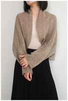 women multi function scarfs shawl pashmina cloak cardigan style pearl buckle 100%goat cashmere hollow out knit 60x145cm